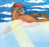 seal wearing beach hat